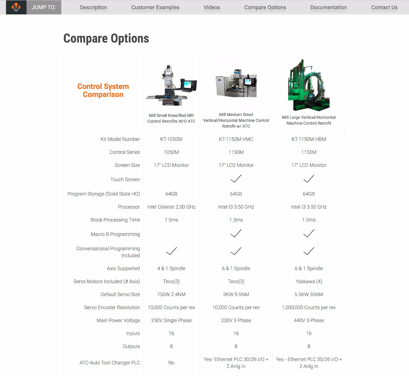MachMotion.com product comparison feature