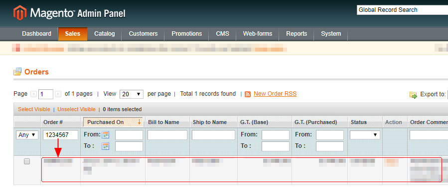 The results of filtering an order in Magento.