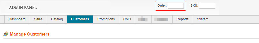 Custom order search / lookup box added in Magento admin panel